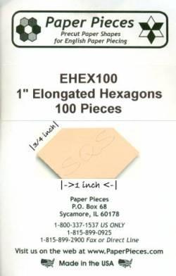 Papierschablonen Elongated Hexagons 1 inch, ca. 100 stk.