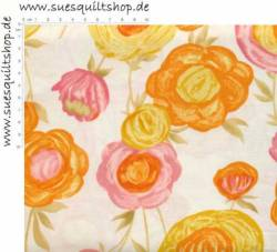 Timeless Treasures Stella große Blumen gelb orange rosa