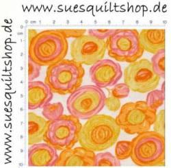 Timeless Treasures Stella kleine Blumen gelb orange rosa  >>>  Mindestbestellmenge Reststück 0,84 m <<<