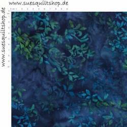 Hoffman Batik  Hand Painted Leaves, Blätter blau bis grünlich