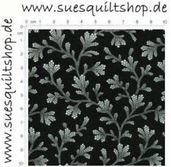Timeless Treasures Black/White Branches Zweige weiss auf schwarz