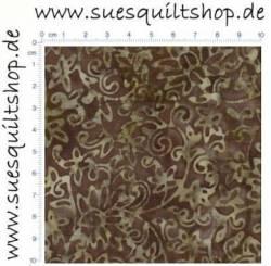 Timeless Treasures Tonga Batik Chocolate Brown, Ranken u. Blüten schokoladenbraun