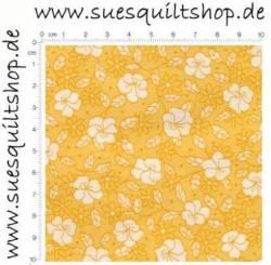 Robert Kaufman 1930s Yellow Reproduction Floral, weiße Blumen auf gelborange