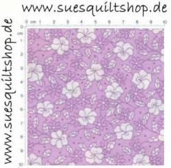 Robert Kaufman 1930s Petunia Purple Reproduction Floral, Blümchen weiss auf erika-violett