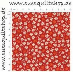 David Textiles Red 1930s Reproduction Floral, Blümchen weiß u. hellrot auf rot