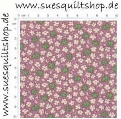 David Textiles Red 1930s Reproduction Floral, Blümchen weiß u. grün auf flieder  >>>  Mindestbestellmenge 1 Meter <<<