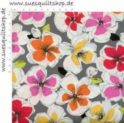 Benartex Bold & Beautiful Flowers Blumen gelb orange pink auf grau weiss