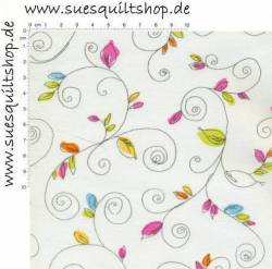 Benartex Bold & Beautiful Scrolling Vine, verschnörkelte Ranken gelb orange pink blau auf weiss