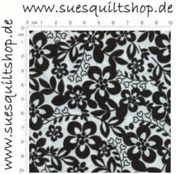 Santee Blumen Blätter schwarz weiß  >>> Mindestbestellmenge 1 Meter <<<