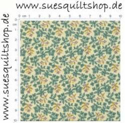 Blue Hill Fabrics 1800s Lavender Floral Leaves, Blümchen Ranken lavendel und grün auf natur >>>  Mindestbestellmenge 2 Meter <<<