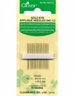 Clover Applikationsnadeln Gold Eye Sharps No. 12
