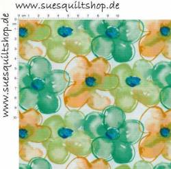 Free Spirit Pocketful Poppies stilisierte Blumen grün orange auf weiss