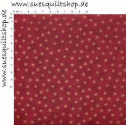 Stof Quilters Basics Sternchen gold auf dunkelrot
