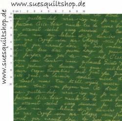 Stof Quilters Basics Schrift gold auf grün