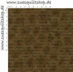 Stof Quilters Basics Schrift dunkelbraun auf braun