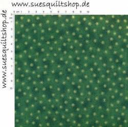 Stof Quilters Basics Sternchen gold auf grün