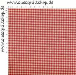 Stof Quilters Basics Nordsø Web-Karo klein natur rot >>> Mindestbestellmenge 1 Meter