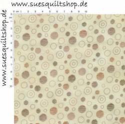 Stof Quilters Basics Special Kreise Kringel braun auf beige