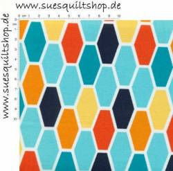 Michael Miller Technicolor Hexo Hexagons hellblau orange >>> Mindestbestellmenge 1 Meter <<<