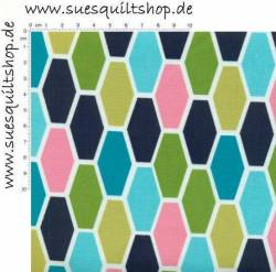 Michael Miller Technicolor Hexo Hexagons hellblau dunkelblau grün pink >>> nur noch Fat Quarter <<<