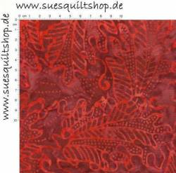 Benartex Bali Batik Rainforest II Island Leaves Burgundy/Red Blätter burgunderrot