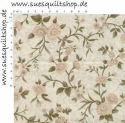 Quilt Gate Gentle Flowers Cream Medium Floral Vine, Ranken creme