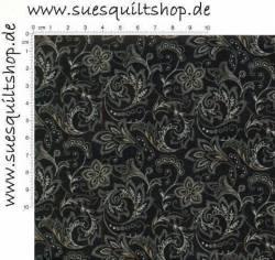 Benartex Heritage Prints Black Paisley schwarz