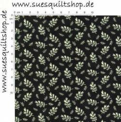 Marcus Brothers Black Reproduction Leaves Blätter ecru auf schwarz