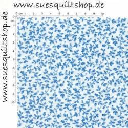Fabric Arts zarte Ranken mit Hagebutten blau auf weiss >>> Mindestbestellmenge 1 Meter <<<