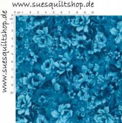 Robert Kaufman Fusions Bouquet Teal Packed Flowers >>> Mindestbestellmenge 1 Meter <<<