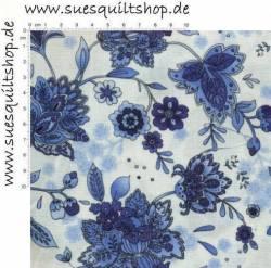 Timeless Treasures Anabelle blau weiss >>> Mindestbestellmenge 1 Meter <<<