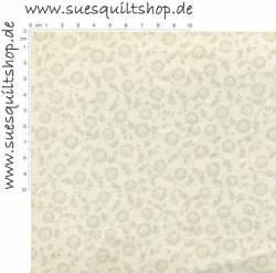 David Textiles Ellens Floral Dawn, Blümchen grau ecru auf beige