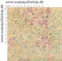 Hoffman Bali Handpaint Vanilla, kleine Blätter violett u. grün auf gelblich-lachs