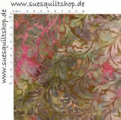 Hoffman Bali Handpaint Carnation, Blätter grün pink
