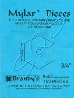 Mylar-Schablonen Hexagons   3/4 inch, ca. 150 Stück