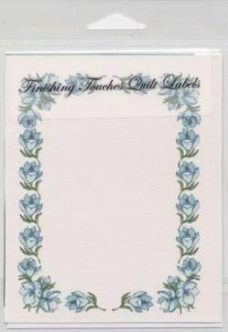 Quilt Label Blue Flower Border, Blumenbordüre blau