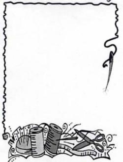 Quilt Label Black/White Needle, Nadel und Faden schwarz-weiss