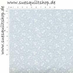 Muslin bedruckt weiß auf weiß, kreisförmige Ranken Blumen