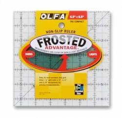 Olfa Frosted Ruler   6.5x6.5 INCH, Antirutsch-Lineal mit schwarzen Linien auf milchigem Kunststoff