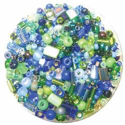Bead Gravy Blueberry Lime, Glasperlen tiefblau-grüne Mischung