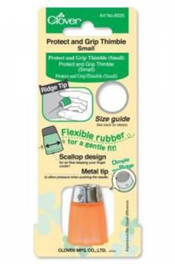 Clover Fingerhut Grip And Protect Gr. S, unten weicher Kunststoff orange, oben Metall