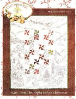 Anleitung Twas The Night Before Christmas - Patchwork und Redwork Stickerei, ca. 148,59 x 186,69 cm