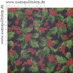 Timeless Treasures Holiday Stechpalmenblätter u. -beeren rot grün gold auf schwarz Mindestbestellmenge 1 Meter