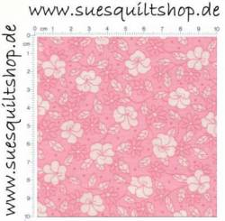Robert Kaufman 1930s Baby Pink Reproduction Floral, weiße Blumen auf babyrosa