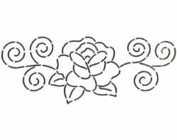 Schablone  7.5 inch Rose & Swirls, Rose mit Schnörkel