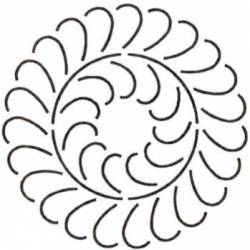 Schablone 12 inch Feather Circle Federkranz