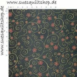Stof Raphael Blumen rot Schnörkel gold auf grün  >>> Mindestbestellmenge 1 Meter <<<