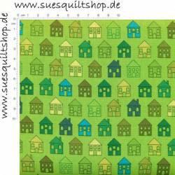 Stof Quilters Basic Häuser grün >>>  Mindestbestellmenge 1 Meter <<<