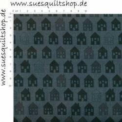 REDUZIERT: Stof Quilters Basic Häuser anthrazit >>> Mini-Ballen 1,74 m <<<