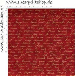 Stof Quilters Basics Schrift gold auf rot